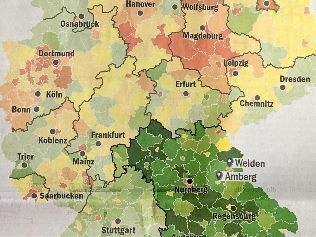 Am wenigsten Schuldner in Bayern
